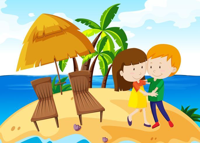 Garçon et fille dansant sur l'île