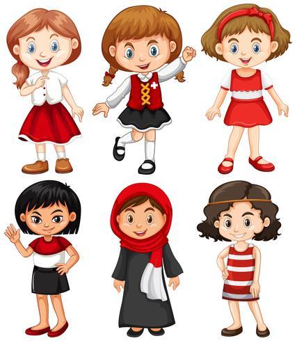 Meisjes in rode en zwarte kostuums