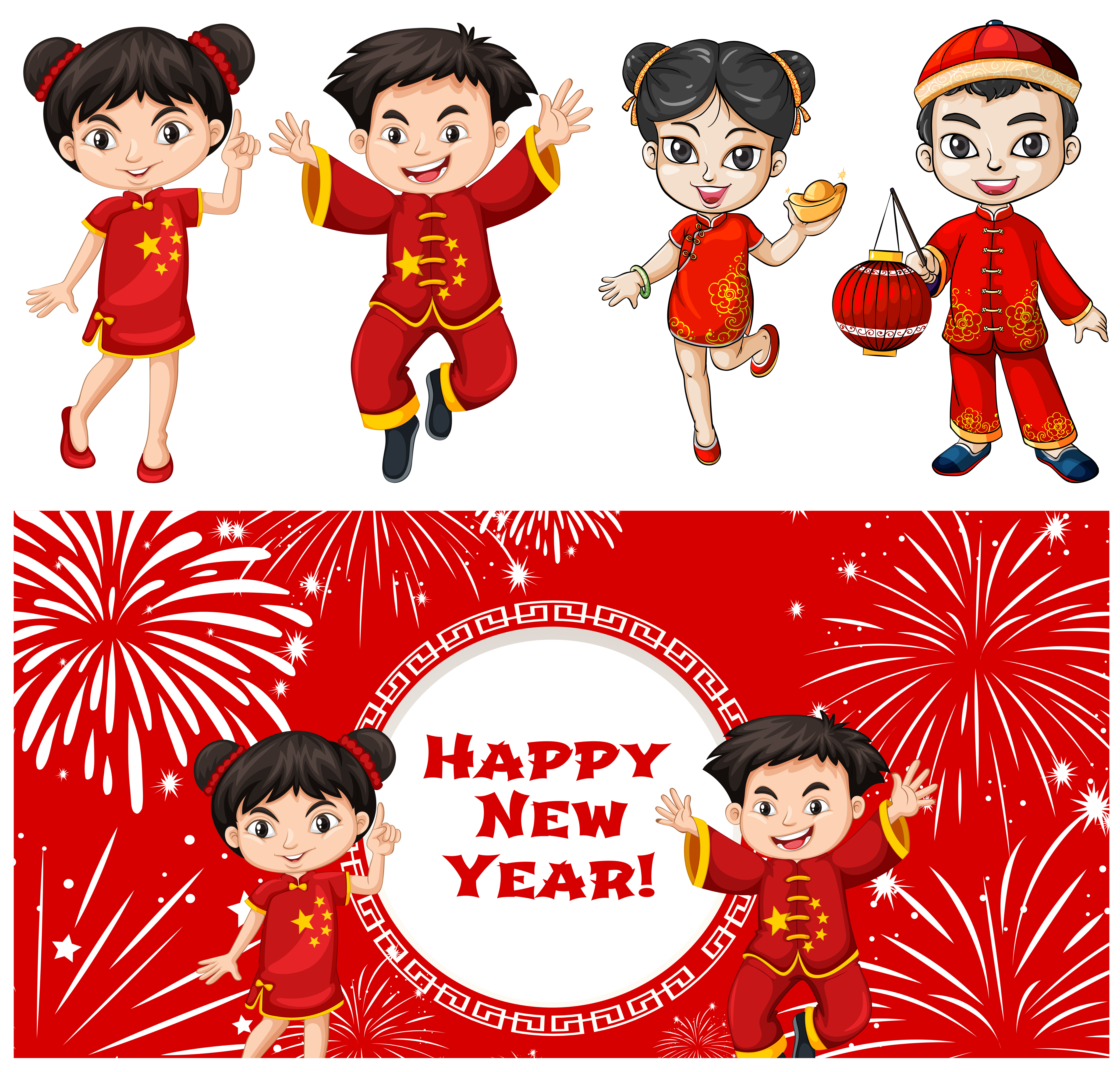 Happy kids and chinese new year card template - Download ...