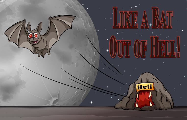 Phrase on poster for like a bat out of hell