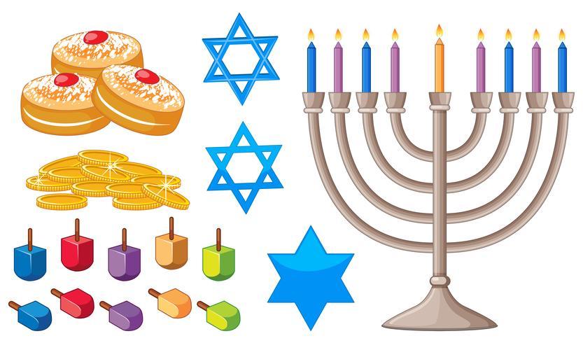 Elementos de feliz Hanukkah con símbolos judíos