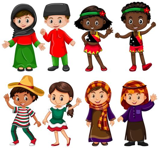 Boys and girls in traditional costumes