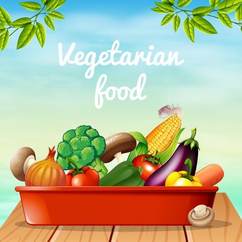 Design de cartaz com comida vegetariana