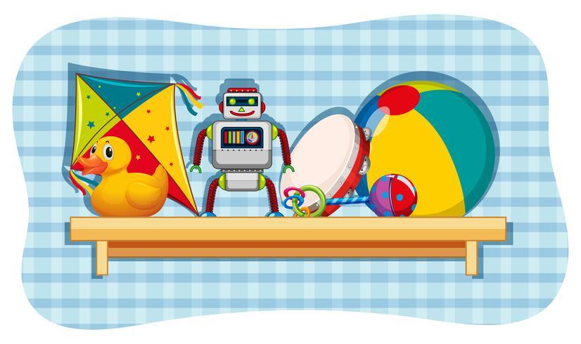 Diferentes juguetes en estante de madera.