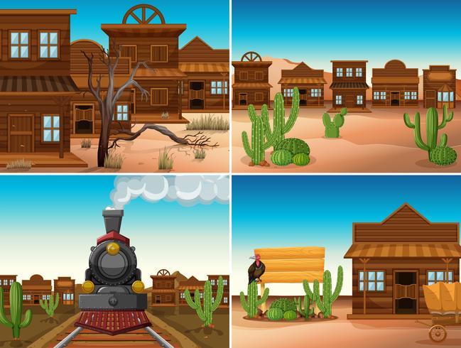 Vier Westernszenen mit Gebäuden und Zug