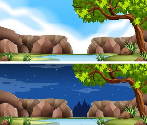 Duas cenas do rio dia e noite