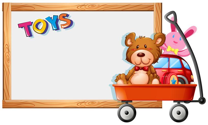Modèle de cadre avec des jouets sur un wagon rouge