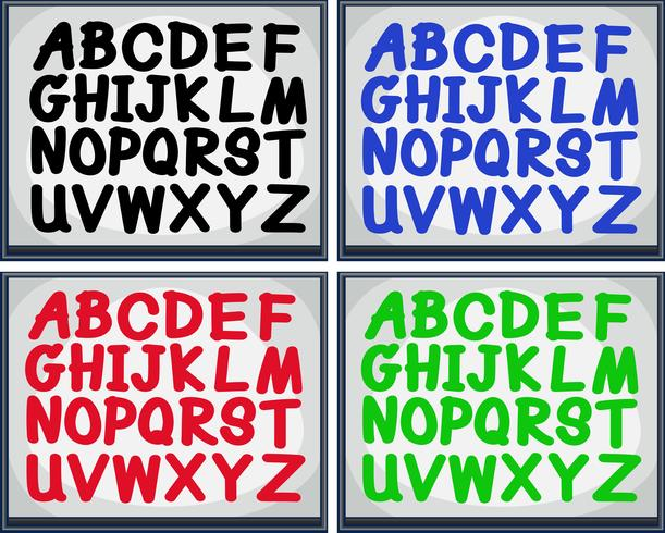 English alphabet in four colors