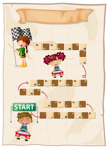 Boardgame template with kids racing cars