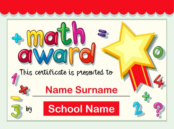 Modelo de certificado para prêmio de matemática