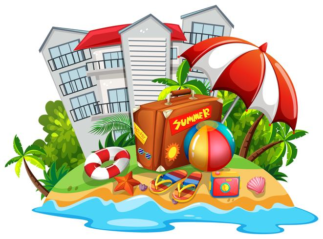 Summer theme with beach and hotel