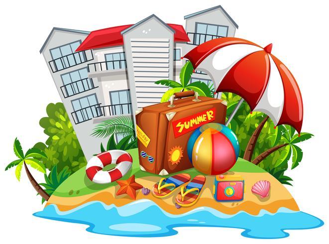 Tema de verão com praia e hotel