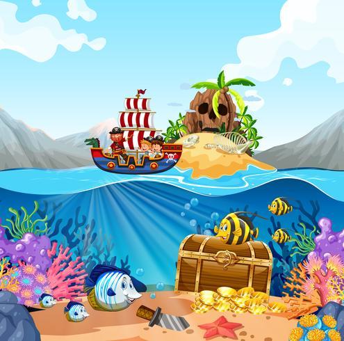 Cena oceano, com, crianças, ligado, viking, navio