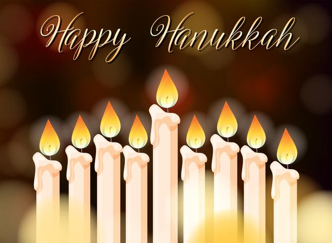 Diseño del cartel feliz Hanukkah con velas