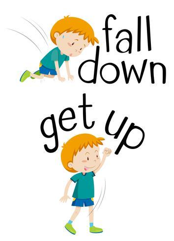 Palavras opostas para cair e levantar-se