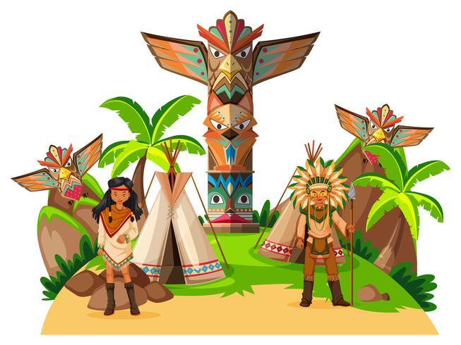Twee Indiaanse indianen in het kamp vector
