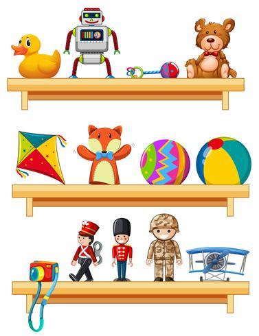 Muchos juguetes en estantes de madera.