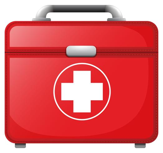 Uma maleta médica vermelha