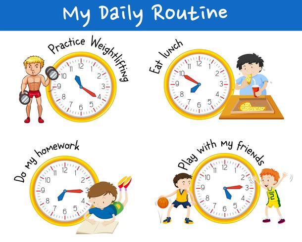 Dagelijkse routine voor verschillende mensen met gele klokken