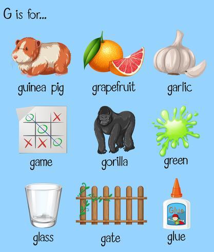 Veel woorden voor letter G