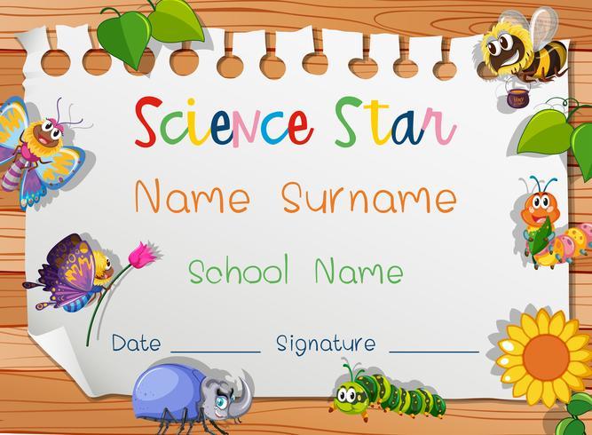 Modelo de certificado para estrela da ciência