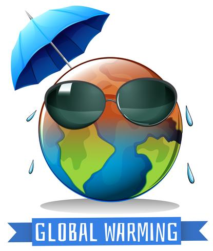 Global warming with earth and umbrella