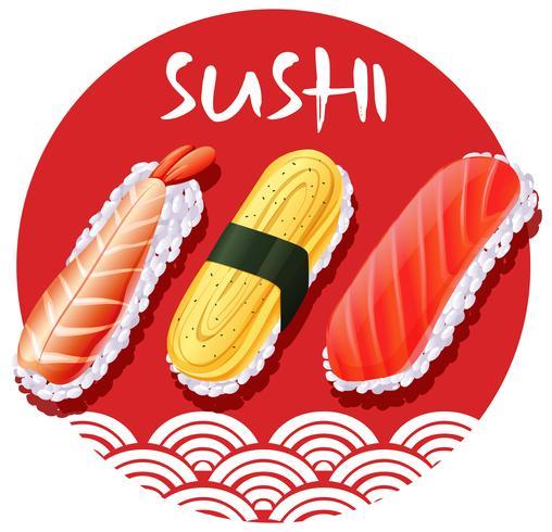Design de comida japonesa com rolos de sushi