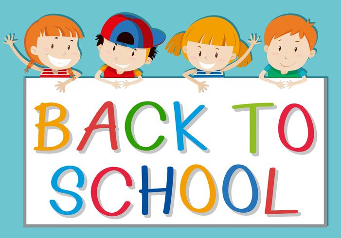 Children holding back to school sign