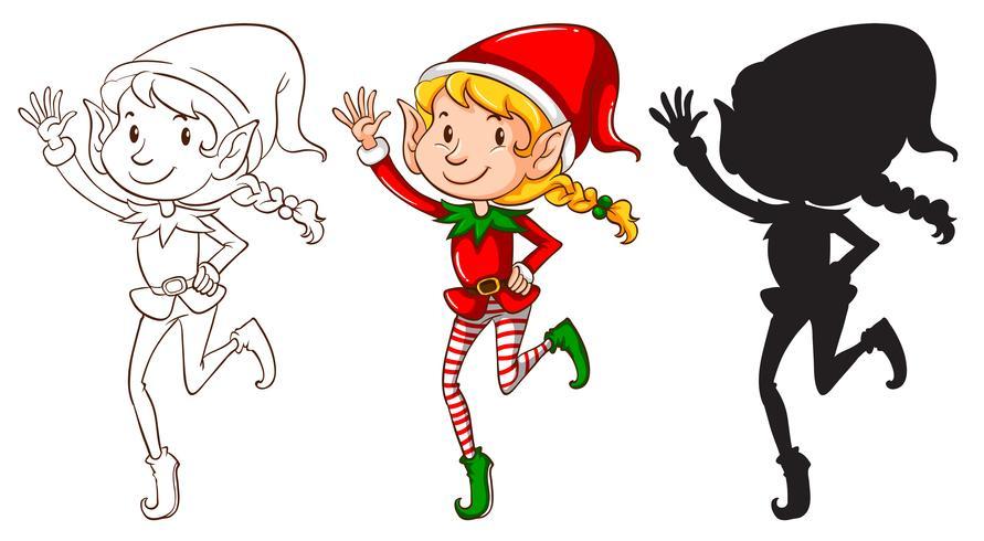 Esboços de um elfo em três cores