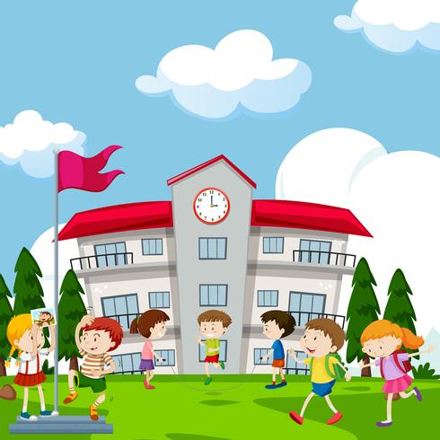 Etudiants jouant devant l'école