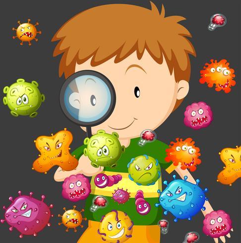 Junge, der Bakterien durch Lupe betrachtet