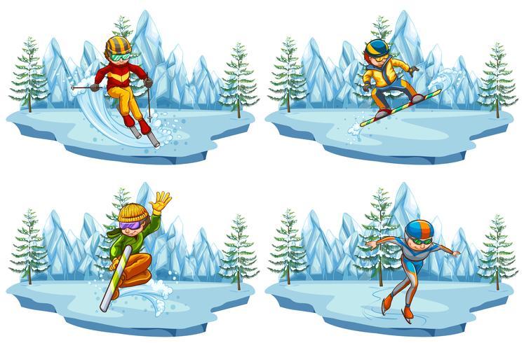 Quattro scene con persone che giocano a sci e snowboard