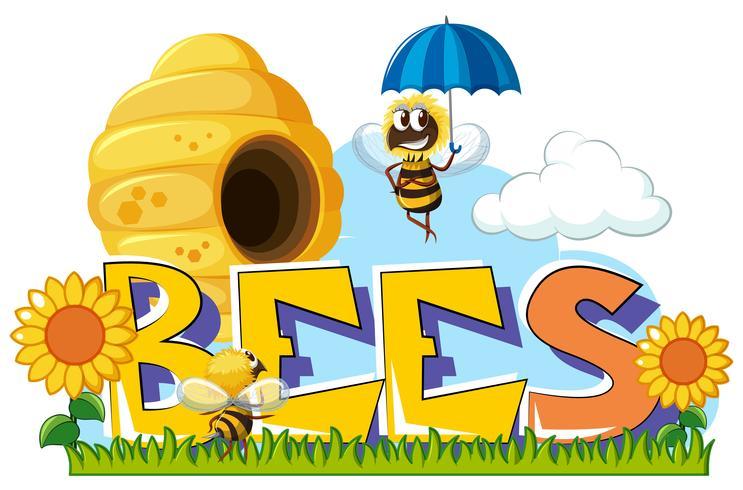 Bees flyger runt i trädgården