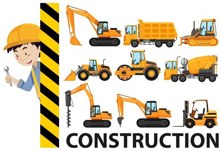 Caminhões de trabalhador e construção