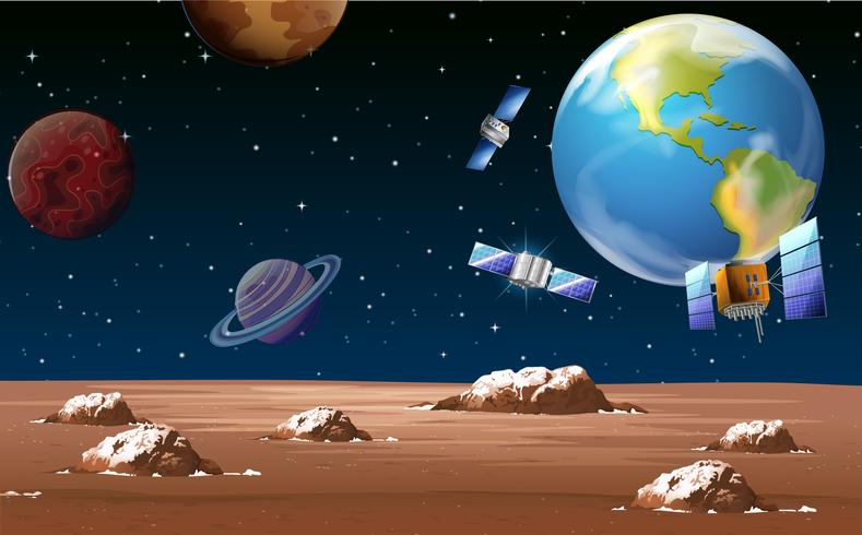 Weltraumszene mit Satelliten und Planeten