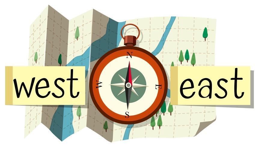 Karta och kompass för riktning