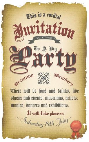 Affiche Vintage Invitation Médiévale