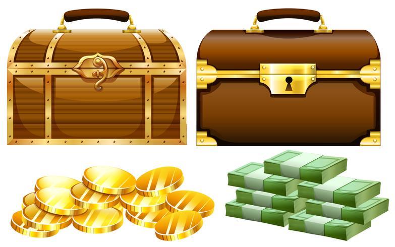 Due disegni di casse con oro e denaro