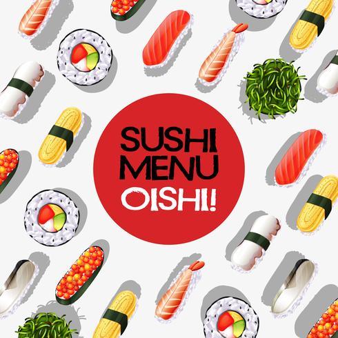 Disegno del menu con rotoli di sushi