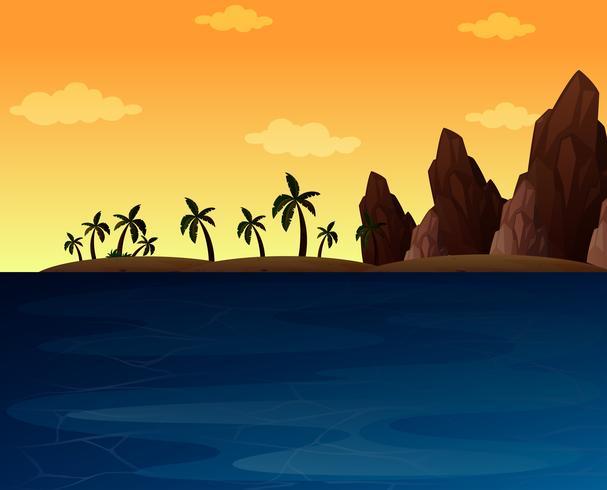 Hintergrundszene mit Ozean und Berg