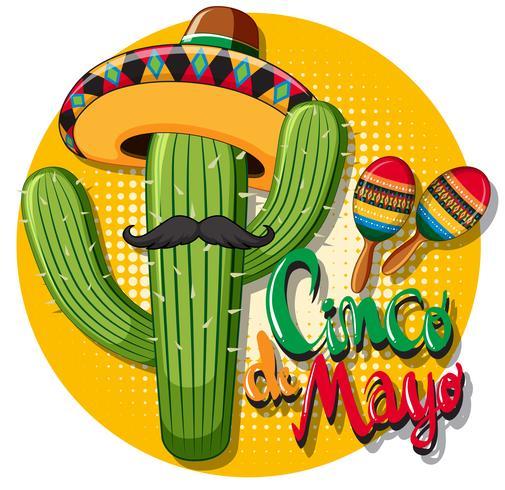 Cinco de Mayo-Kartenschablone mit tragendem Hut des Kaktus