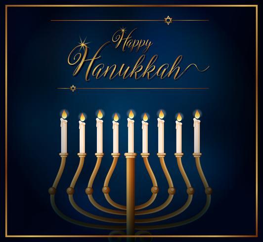 Modelo de cartão feliz Hannukkah com velas em fundo azul