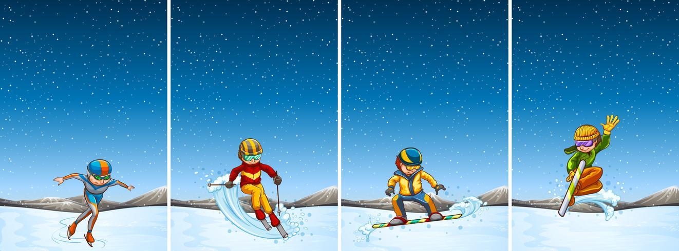 Vier Szenen mit Menschen beim Skifahren und Snowboarden