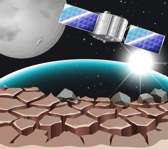 Satellit im dunklen Raum