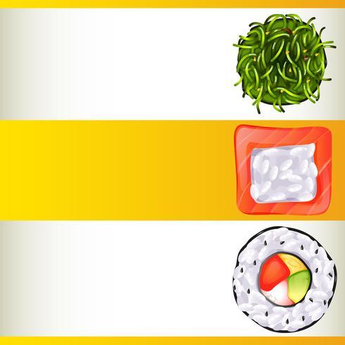 Hintergrundschablone mit der unterschiedlichen Sushirolle drei