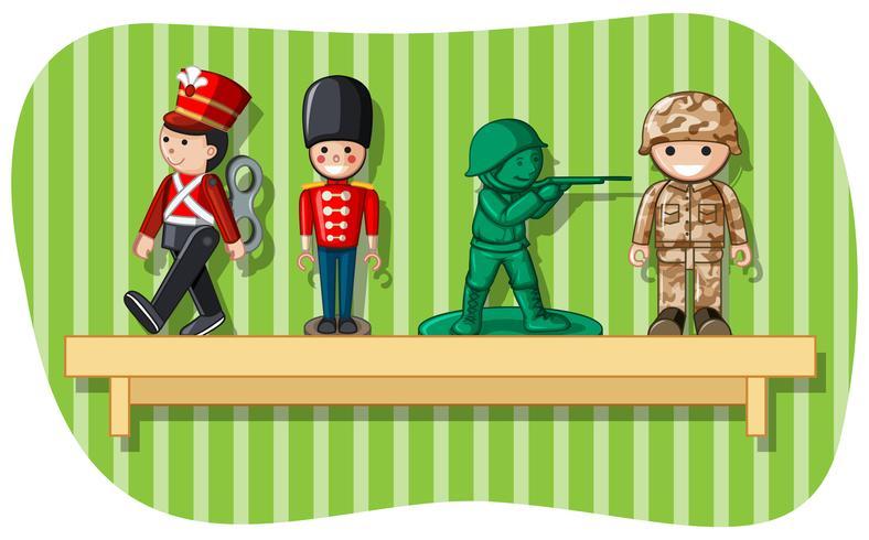 Figuras de soldado en estante de madera