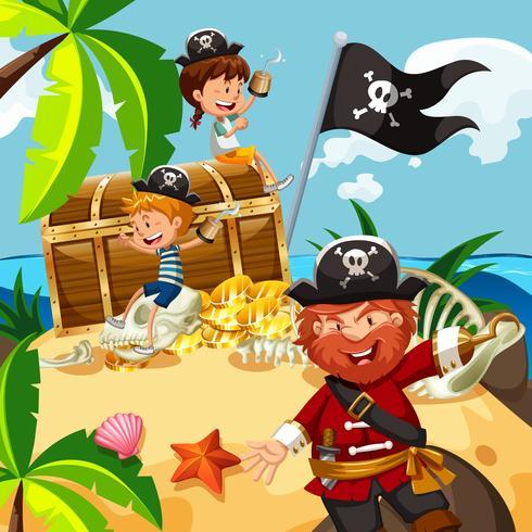 Pirat und Kinder mit Schatztruhe auf der Insel