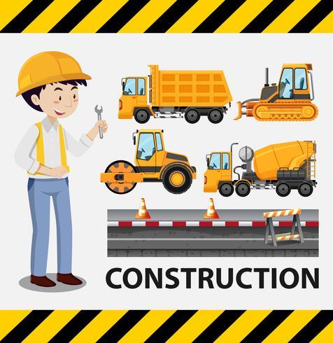 Bouwvakker en bouwvrachtwagens