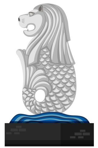 Estátua de merlion em fundo branco