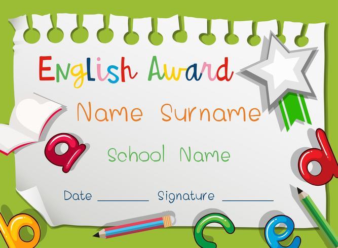 Prêmio inglês com alfabetos ingleses
